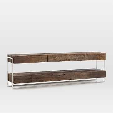 Modern Reclaimed Wood + Metal Media Console - West Elm