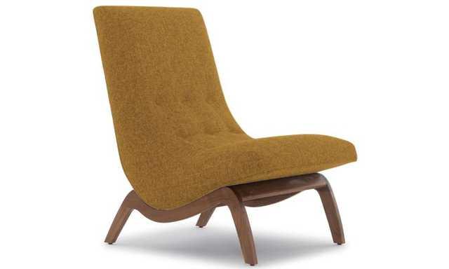 Yellow Cooper Mid Century Modern Chair - Genova Gold - Walnut - Joybird