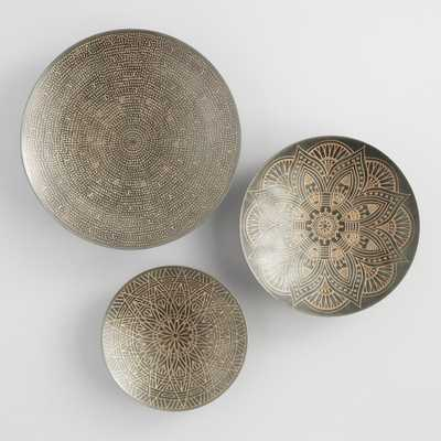 Zinc and Gold Metal Etched Disc Wall Art Set of 3 by World Market - World Market/Cost Plus