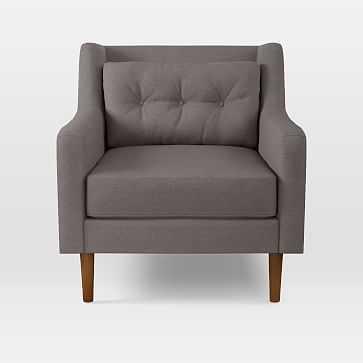 Crosby Armchair, Eco Weave, Pewter, Pecan - West Elm