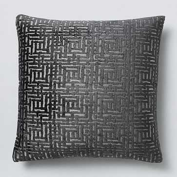 "Allover Crosshatch Jacquard Velvet Pillow Cover, 20""x20"", Slate - West Elm"