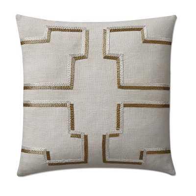 "Luca Linen Zardozi Pillow Cover, 20"" X 20"", Light Gray - Williams Sonoma"