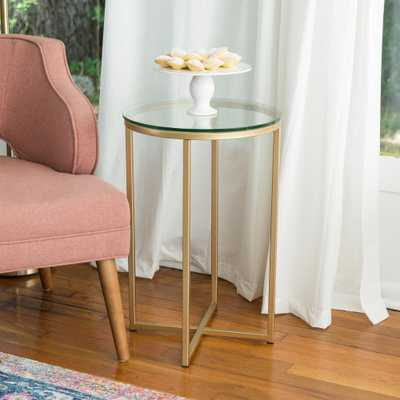 16 in. Glass/Gold Round Side Table - Home Depot