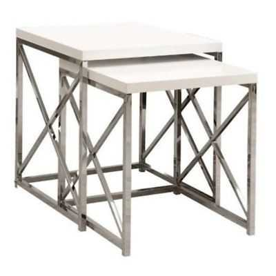 Bowery Hill 2 Piece Nesting Table Set in Glossy White and Chrome - eBay