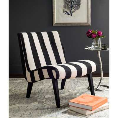 Black and White Polyester Accent Chair, Black/White - Home Depot