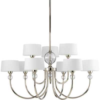 Progress Lighting Fortune Collection 9-Light Polished Nickel Chandelier with Opal Etched Glass Shade - Home Depot
