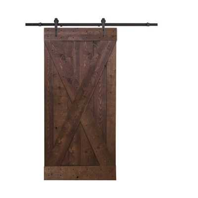 CALHOME 36 in. x 84 in. X-Panel Knotty Pine Finished Wood Barn Door with Sliding Door Hardware Kit, Walnut Stain - Home Depot