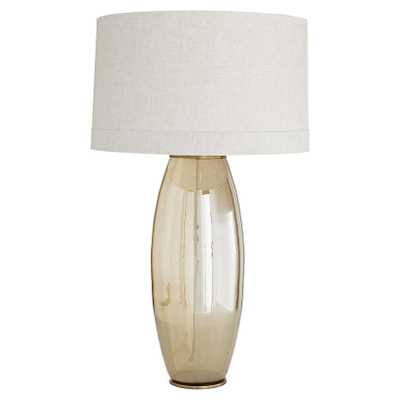 Adrian Hollywood Regency Beige Linen Shade Brown Glass Gold Vintage Brass Base Table Lamp - Kathy Kuo Home