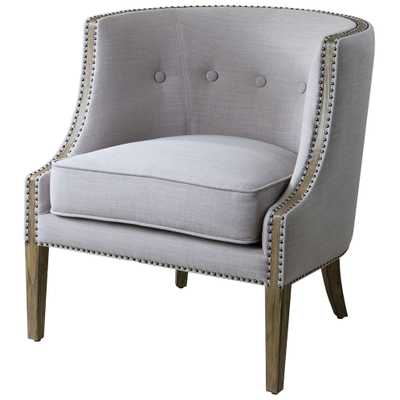 Lyla Modern Classic Soft Grey Hammered Barrel Back Chair - Kathy Kuo Home