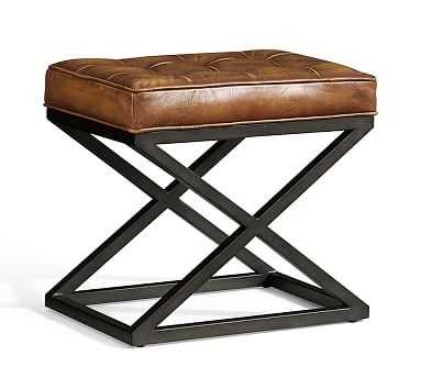 Kirkham Tufted Leather Stool, Light Brown - Pottery Barn