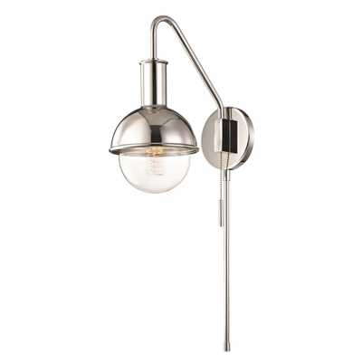 Mitzi by Hudson Valley Lighting Riley 1-Light Polished Nickel Wall Sconce with Plug - Home Depot