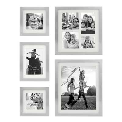 Stonebriar Collection Decorative Stamped Silver Picture Frame Set, (Set of 5) - Home Depot