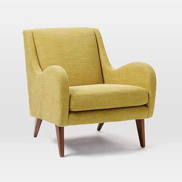 Sebastian Chair, Basket Slub, Dark Horseradish, Pecan, Poly (Made to Order (ships in 9 weeks or more) - West Elm