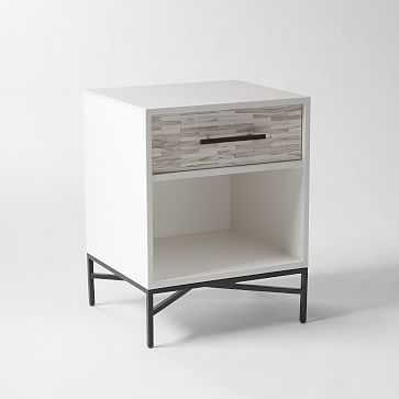 Wood Tiled Nightstand, White, Individual - West Elm