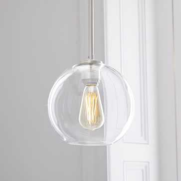 Sculptural Glass Globe Pendant, Small Globe, Clear Shade, Nickel Canopy - West Elm