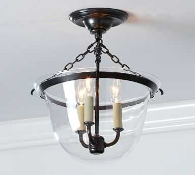 Hundi 3-light Semi-Flushmount Lantern, Bronze finish - Pottery Barn