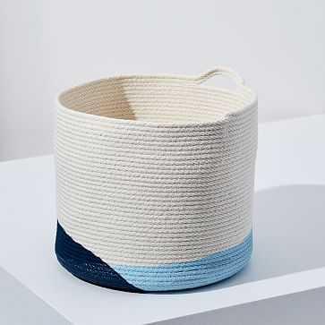 Closed Mondays Woven Bucket Basket, Large, Pale Blue/Ocean Blue - West Elm