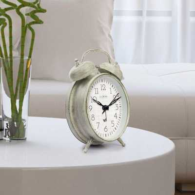 Weathered Ivory Metal 4.17 in. Analog Twin Bell Alarm Table Clock - Home Depot