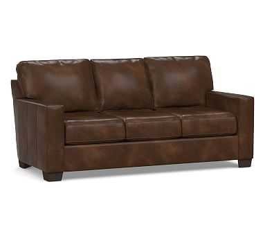 Buchanan Square Arm Leather Sofa, Polyester Wrapped Cushions, Vintage Cocoa - Pottery Barn