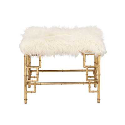 White Faux Fur Rectangular Ottoman with Gold Iron Pipe Legs - Home Depot