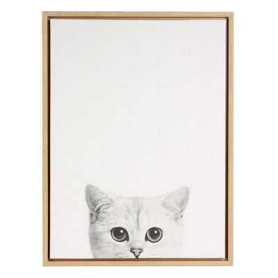 'Kitty Black and White Portrait' Framed Drawing Print on Wrapped Canvas - Wayfair