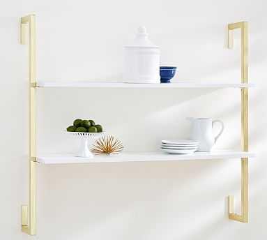 Olivia 2-Tiered Shelf, White/Gold - Pottery Barn