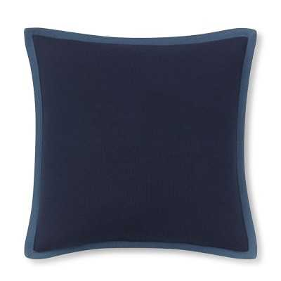 """Cashmere Pillow Cover with Contrast Edge, 18"""" X 18"""", Navy/Blue - Williams Sonoma"""