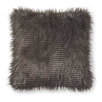"Faux Fur Pillow Cover, 22"" X 22"", Gray Owl Feather - Williams Sonoma"
