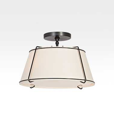 Conical 16in. Drum Semi-Flush Fixture- ANTIQUE BRONZE & WHITE SHADE - Rejuvenation