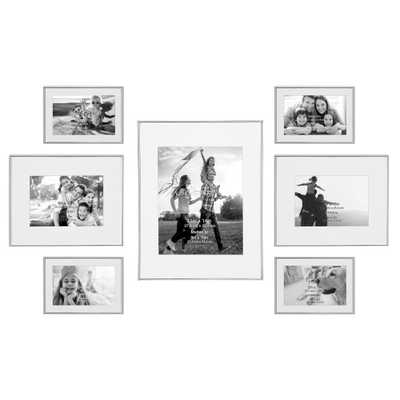 Stonebriar Collection Decorative Silver Steel Picture Frame Set (Set of 7) - Home Depot
