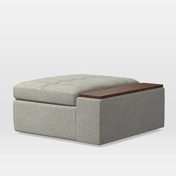Plateau Storage Ottoman with Table, Twill, Granite - West Elm