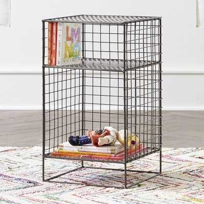 Kids On the Grid Graphite 2-Cube Nightstand - Crate and Barrel