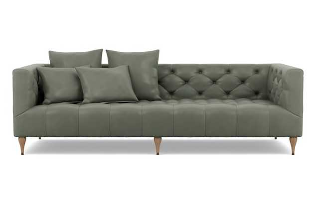 Ms. Chesterfield Leather Sofa with New City and White Oak with Antique Cap legs - Interior Define