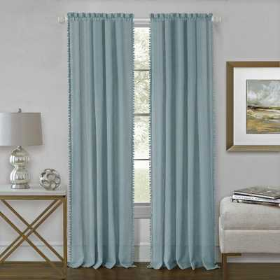 Achim Wallace 52 in. W x 84 in. L Polyester Rod Pocket Curtain Panel in Aqua (Blue) - Home Depot