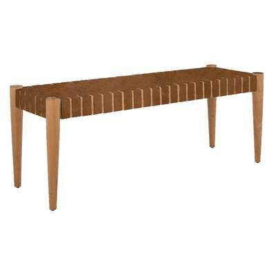 Albanese Genuine Leather Solid Wood Bench - AllModern