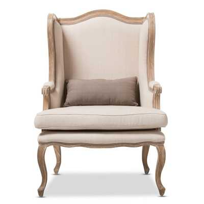 Albertina Beige Fabric Arm Chair - Home Depot