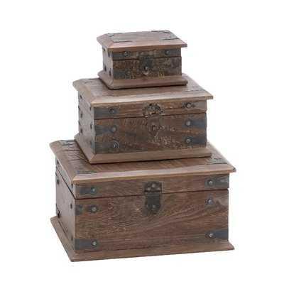 Wood Reclaimed 3 Piece Decorative Box Set - Wayfair