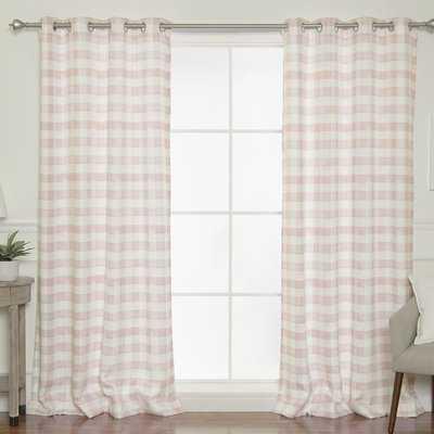 Batten Watercolor Check Plaid Room Darkening Grommet Curtain Panels - Birch Lane
