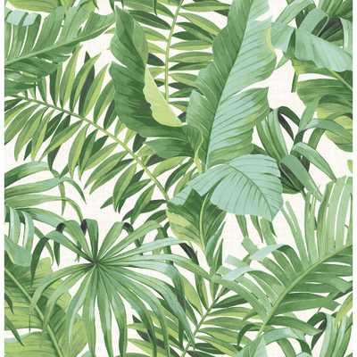 56.4 sq. ft. Alfresco Green Palm Leaf Wallpaper - Home Depot