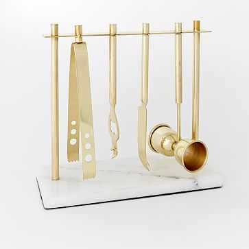 Deco Barware, Bar Tools with Stand, Brass + Marble - West Elm