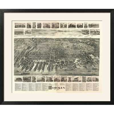 'Hoboken, New Jersey - Panoramic Map' Framed Vintage Advertisement - Wayfair