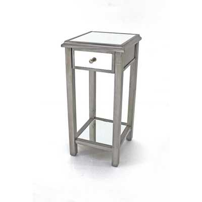 Litechnologies Inc. Dba Grey Wood Mirror End Table with Drawer - Home Depot