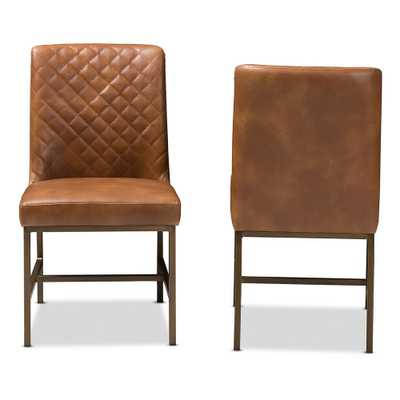 Margaux Brown Faux Leather Upholstered Dining Chair (Set of2) - Home Depot