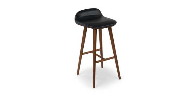 Sede Black Leather Walnut Bar Stool - Article