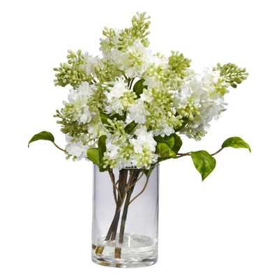 15 in. H White Lilac Silk Flower Arrangement - Home Depot