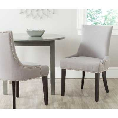 Lester Arctic Grey Cotton Blend Dining Chair (Set of 2), Arctic Gray/Brown - Home Depot