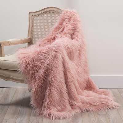 Faux Mongolian Lamb Fur 60 in. L Pink Throw - Home Depot