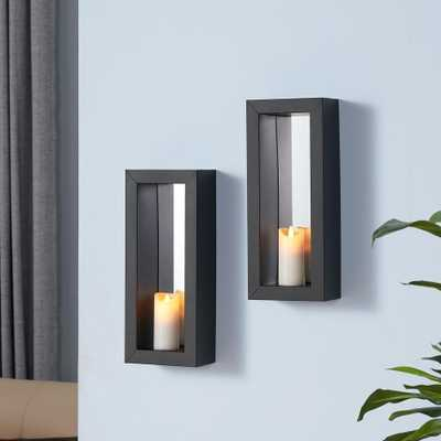 Black Metal Frame Pillar Wall Candle Sconces with Mirror(Set of 2) - Home Depot