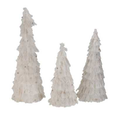Northlight 15 in. - 18.5 in. - 23.5 in. Nature's Luxury Blush Feather Cone Tree Christmas Decorations (Set of 3) - Home Depot