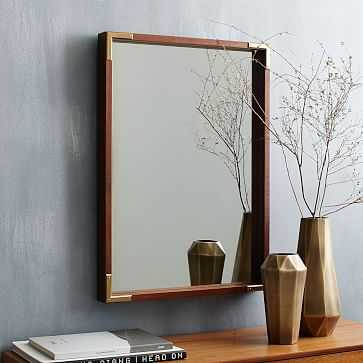 Malone Campaign Wall Mirror, Walnut/Antique Brass - West Elm